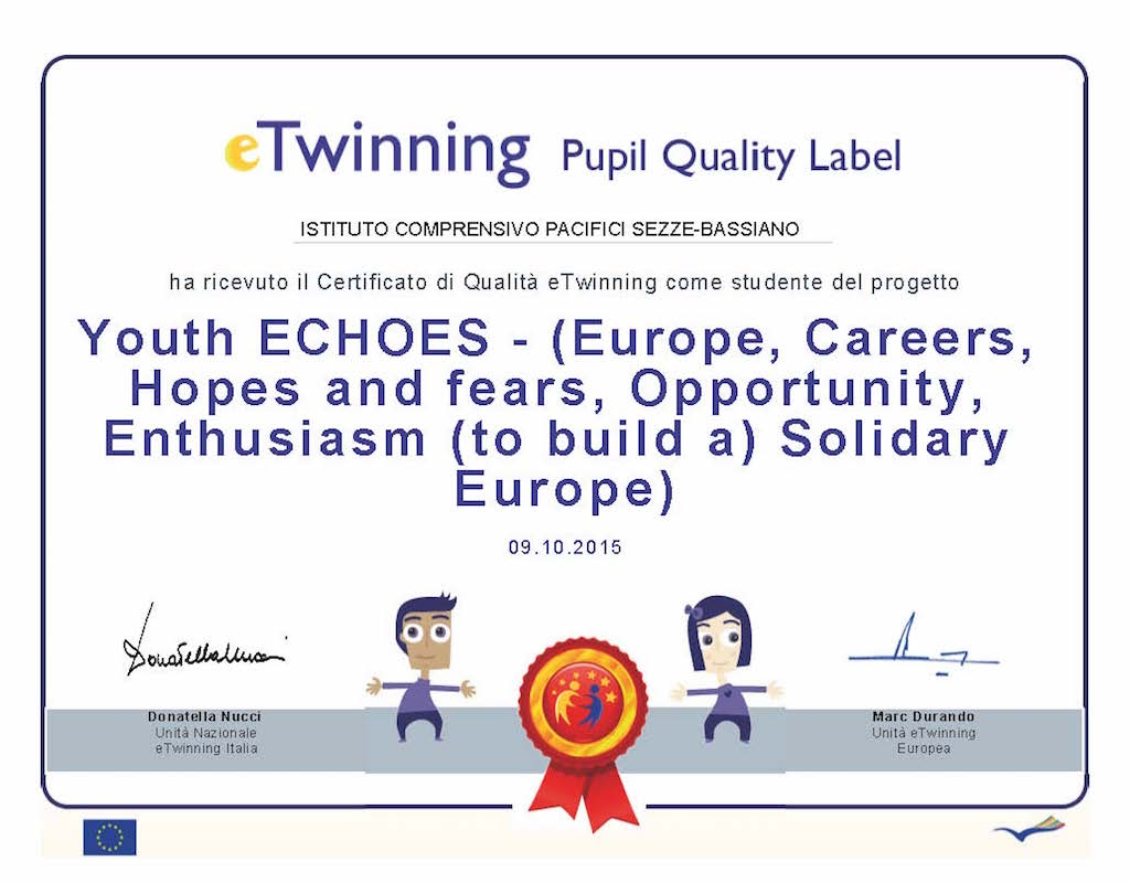 eTwinning Pupil Quality Label - Certicifato di Qualità europeo, per il progetto Youth ECHOES